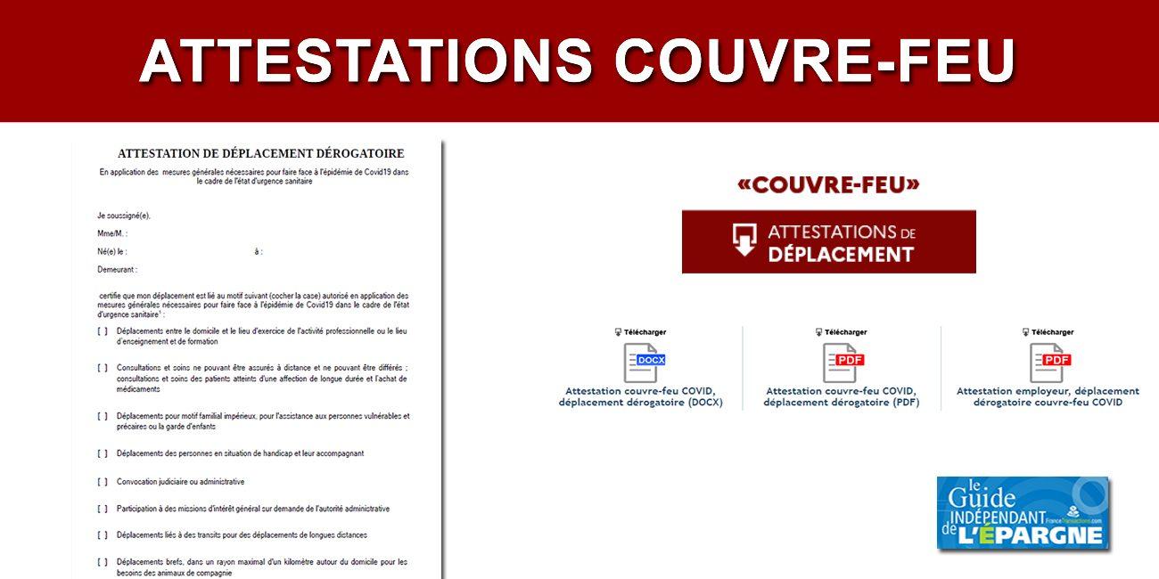 Attestations Couvre Feu Covid En Telechargement Pour Deplacements Entre 21h Et 6h Actualites Socio Economiques