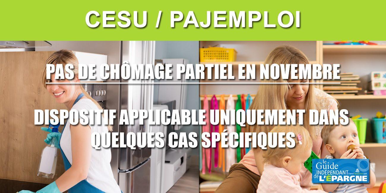 CESU/PAJEMPLOI : Pas de chômage partiel par défaut en novembre