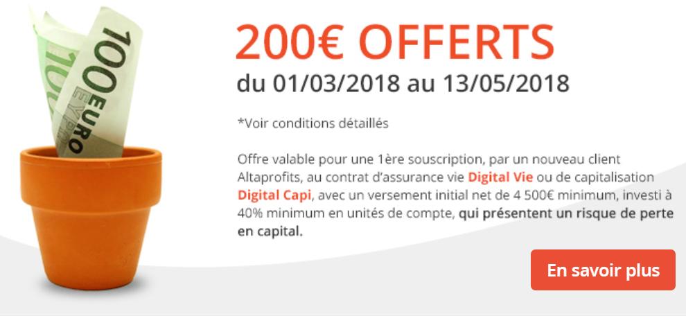 Nouvelle offre de bienvenue, 200€ offerts pour 4.500€ versés, contrat Digital Vie, un must have de l'épargne