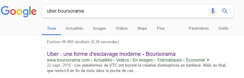 Copie d'écran, résultat de recherche effectué sur Google.fr, le 7 mars 2017, mots clé : Uber Boursorama, 1er résultat renvoyé