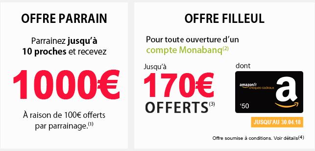 100€ offerts au parrain, et 170€ offerts au filleul chez Monabanq