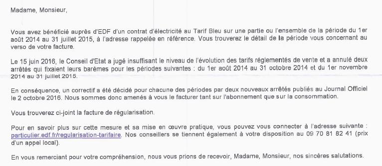 EDF : une facture rectificative sous haute-tension