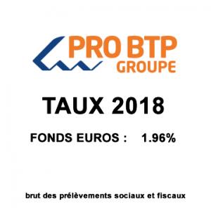 Assurance-Vie Pro BTP, taux 2018 du fonds euros   1.96%   Actualités ... 0473467f246a